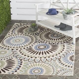 "Safavieh Veranda Piled Indoor/Outdoor Cream/Blue Polypropylene Rug (2'7"" x 5')"
