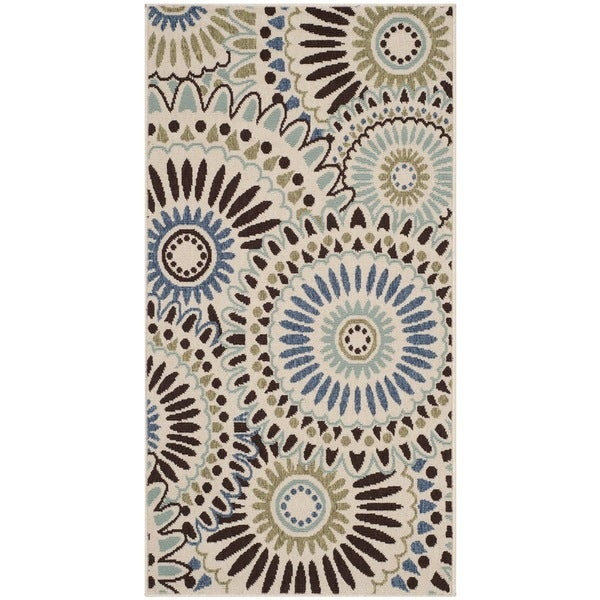 "Safavieh Veranda Piled Indoor/Outdoor Cream/Blue Polypropylene Rug (2'7"" x 5')"