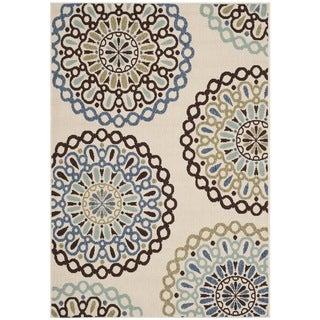 Safavieh Veranda Piled Indoor/ Outdoor Cream/ Blue Rug (2'7 x 5')