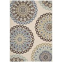 Safavieh Veranda Piled Indoor/ Outdoor Cream/ Blue Rug (2'7 x 5')