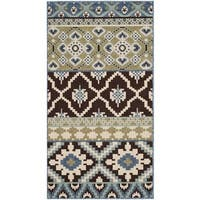 Safavieh Veranda Piled Indoor/ Outdoor Chocolate/ Blue Rug - 2'7 x 5'