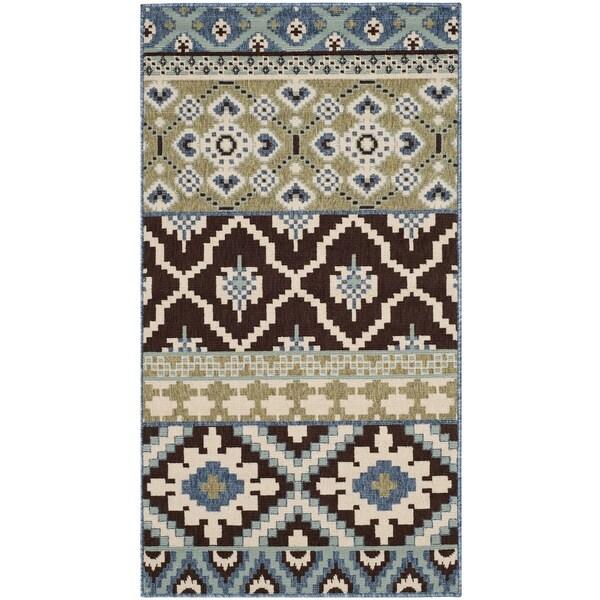 Safavieh Veranda Piled Indoor/ Outdoor Chocolate/ Blue Rug (2'7 x 5')