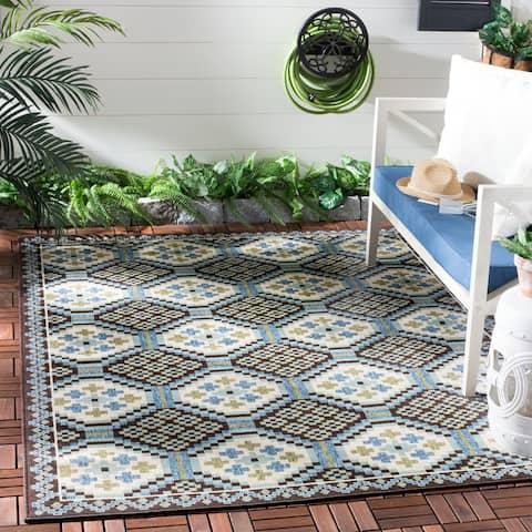 "Safavieh Veranda Piled Indoor/ Outdoor Blue/ Chocolate Rug - 2'7"" x 5'"
