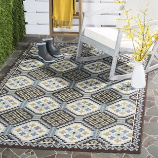 Safavieh Veranda Piled Indoor/ Outdoor Blue/ Chocolate Rug - 2'7 x 5'
