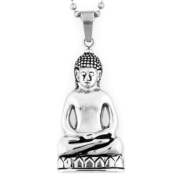 Stainless Steel Meditating Spiritual Buddha Necklace