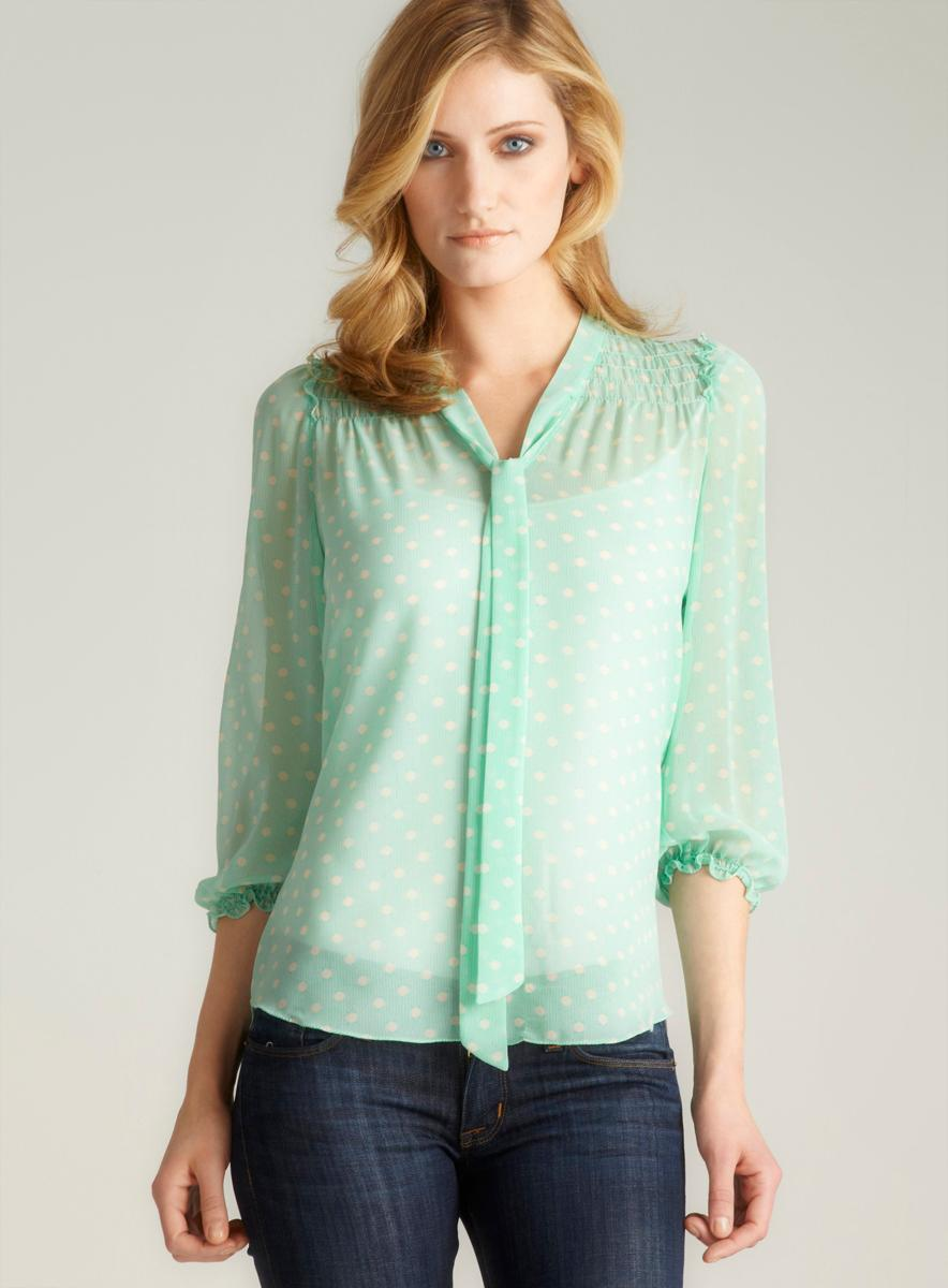 f1ca4db6a67 Shop Max Studio Petite Polka Dot Tie Neck Blouse - Free Shipping On Orders  Over  45 - Overstock.com - 7890266