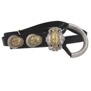 Black Lizard Embossed Leather Hand-hammered Antique Silver/ Brass Buckle
