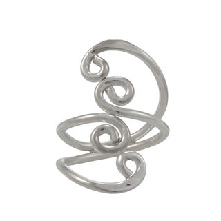 Handmade Alpaca Silvertone Double Swirls Bypass Ring (Mexico) - Silver