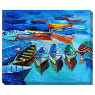 Gallery Direct Floating Boats Oversized Gallery Wrapped Canvas