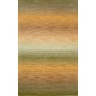 Rainbow-Striped Sage/Gold Indoor Rug (8' x 10')