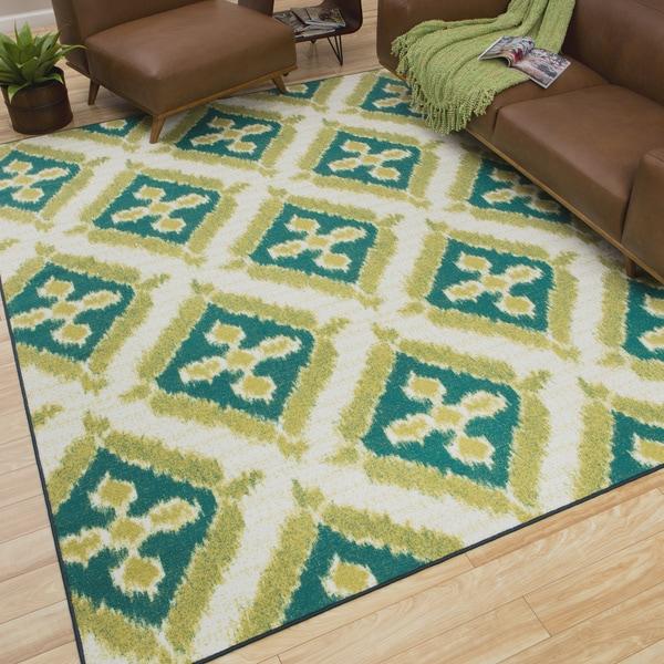 Mohawk Home Summer Splash Printed Turquoise Indoor/Outdoor Area Rug (7'6 x 10)