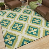 """Mohawk Home Printed Indoor/ Outdoor Summer Splash Turquoise (7'6 x 10) - 7'6"""" x 10'"""