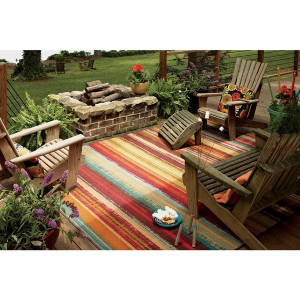 Mohawk Home Printed Indoor Outdoor Avenue Stripe Multi 5