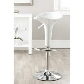 Flare White Scoop Seat Adjustable Barstool Free
