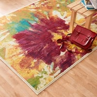 Contemporary Orange/ Red Abstract Floral Area Rug - 3'9 x 5'2
