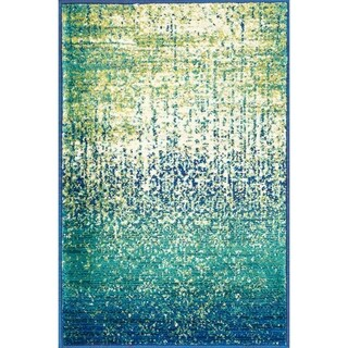 Contemporary Blue/ Green Distressed Area Rug - 2 x 3