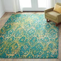 Contemporary Green/ Yellow Ikat Area Rug - 3'9 x 5'2