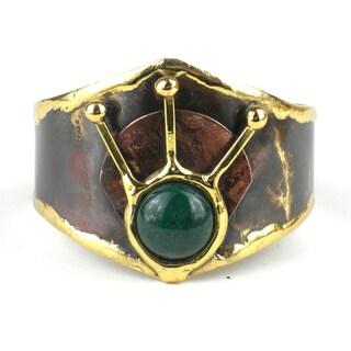 Handmade Green Jade Rays Brass Cuff (South Africa)