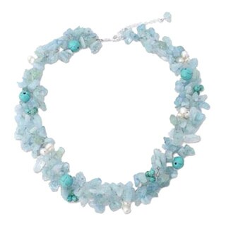 Handmade Pearl and Aquamarine 'Sensation' Choker (5mm) (Thailand)