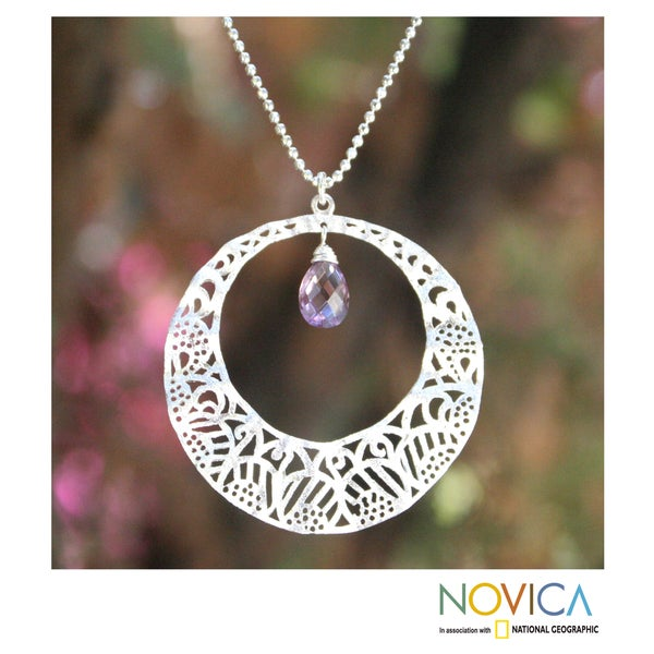 Handcrafted Sterling Silver 'Lanna Moon' Amethyst Necklace (Thailand)