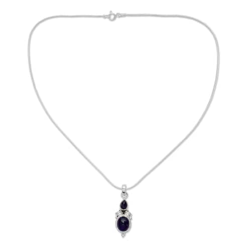 Handmade Sterling Silver 'Mumbai Lilac' Amethyst Necklace (India)