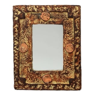 Handmade Hand of the Lord Mirror (Ghana) - Brown