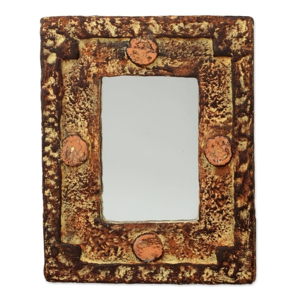Handmade Hand of the Lord Mirror (Ghana) - Brown