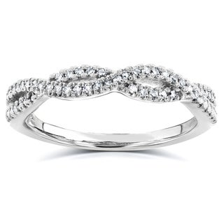 Link to Annello by Kobelli 14k White Gold 1/6ct Diamond Braided Wedding Band Similar Items in Table Linens & Decor