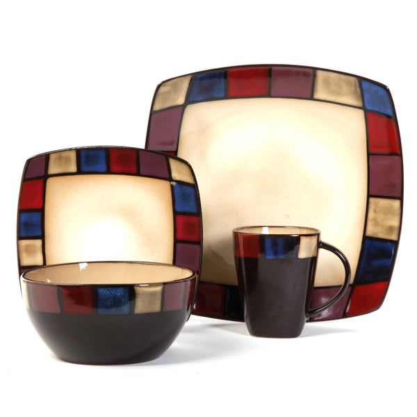 Gibson Home Soho Lounge Mosaic 16-piece Dinnerware Set