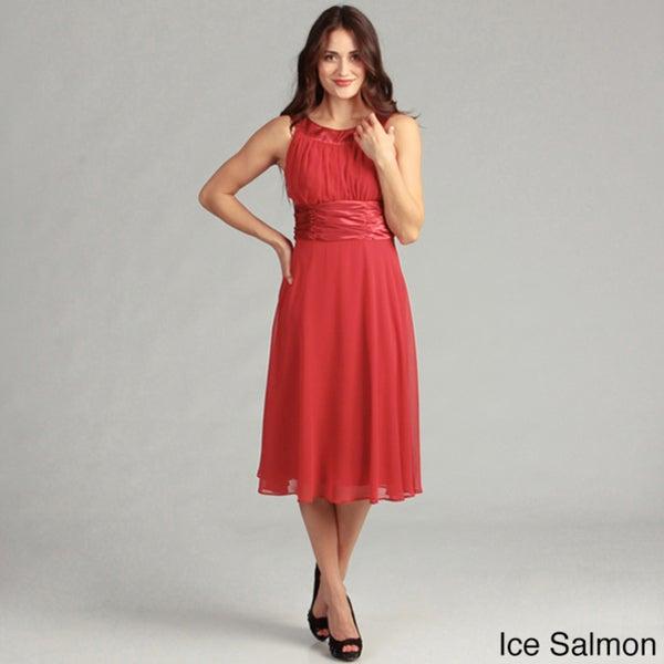 Connected Apparel Women's Sleeveless Cumberbund Waist Dress
