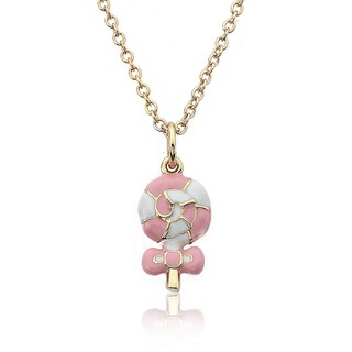 Little Miss Twin Stars Gold Overlay Children's Enamel Lollipop Necklace