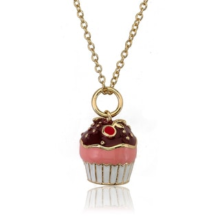 Little Miss Twin Stars Gold Overlay Children's Enamel Cupcake Necklace