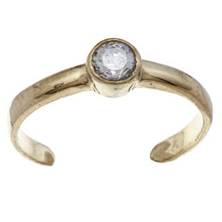 14k Yellow Gold over Silver Round-cut Cubic Zirconia Adjustable Toe Ring