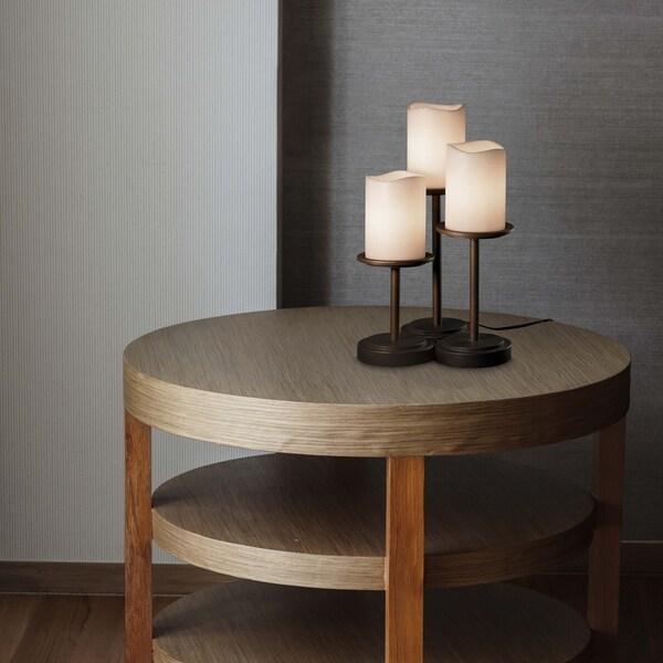 Justice Design Group CandleAria Dakota 3-light Dark Bronze Table Lamp, Cream Cylinder - Melted Rim Shade