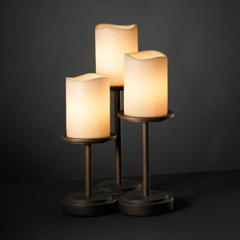 Justice Design Group CandleAria Dakota 3-light Dark Bronze Table Lamp, Cream Cylinder - Melted Rim Shade