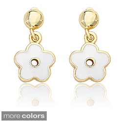 Little Miss Twin Stars Gold Overlay Children's Enamel Flower Earrings