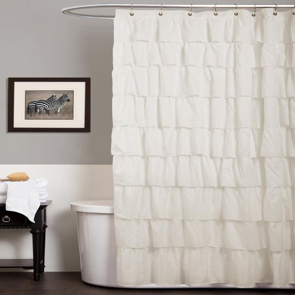 Lush Decor Ruffle Ivory Shower Curtain Free Shipping