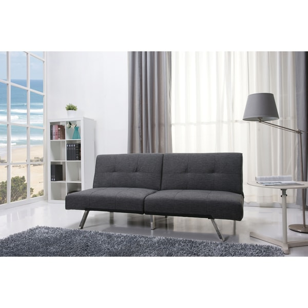 Jacksonville Gray Fabric Futon Sleeper Sofa Bed Free