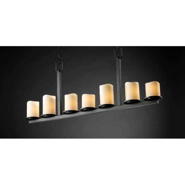 Justice Design Group CandleAria Dakota 7-light Dark Bronze Chandelier, Cream Cylinder - Melted Rim Shade