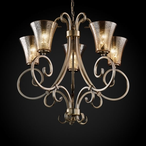 Justice Design Group 5-light Round Flared Uplight Antique Brass Chandelier
