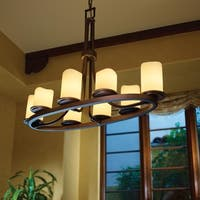 Justice Design Group CandleAria Dakota 8-light Dark Bronze Chandelier, Cream Cylinder - Melted Rim Shade