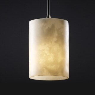 Justice Design Group 1-light Flat Rim Cylinder Cloud Resin Brushed Nickel Mini-Pendant
