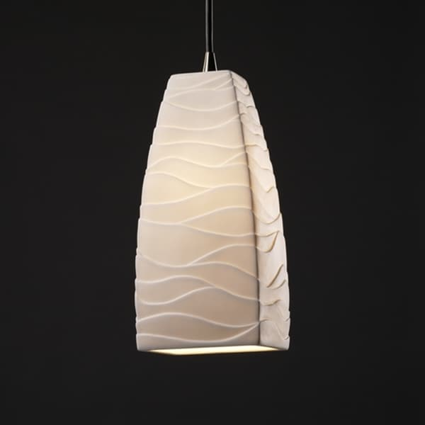 Justice Design Group 1-light Tall Tapered Square Brushed Nickel Pendant