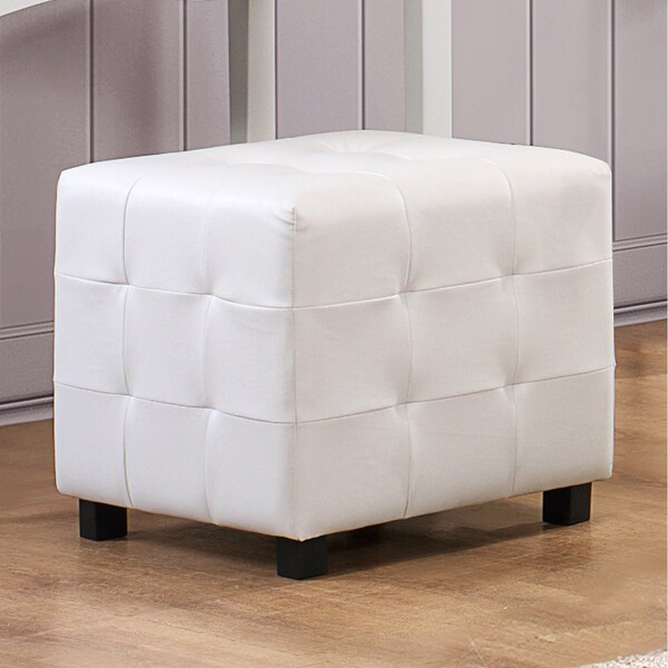 Shop Jasmina White Faux Leather Tufted Modern Square
