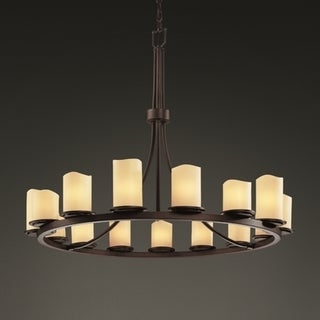 Justice Design Group Dark Bronze 15-light Melted Rim Ring Cylinder Chandelier