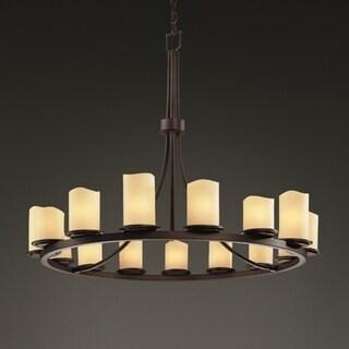 Justice Design Group CandleAria Dakota 15-light Dark Bronze Chandelier, Cream Cylinder - Melted Rim Shade