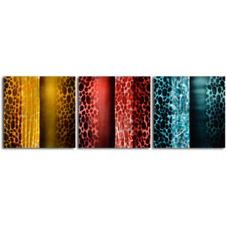 'Colored Scarf Themes' 3-piece Metal Wall Art Set