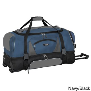 Traveler's Club Adventurer Duffel Collection 36-inch 2-section Drop Bottom Rolling Duffel (Option: Navy/black)