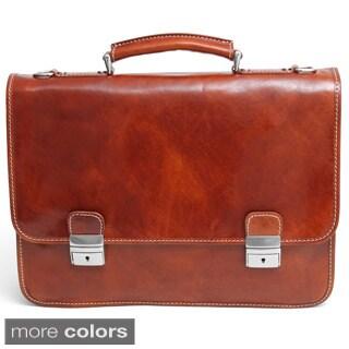 Alberto Bellucci Firenze Double Compartment Italian Leather Briefcase