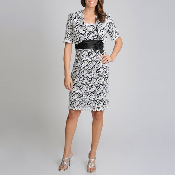 R & M Richards Women's Black/ White Embroidered Jacket Dress